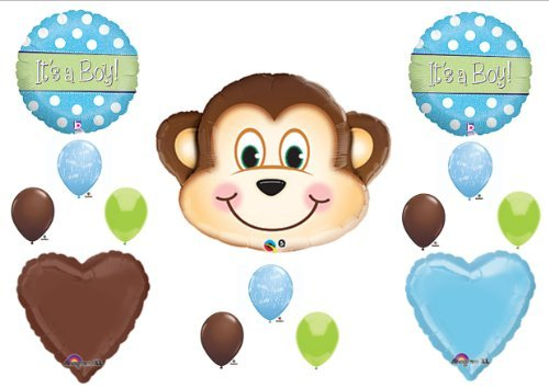 1 X It's a Boy Monkey BABY Shower Balloons Decorations Supplies Jungle Safari ()