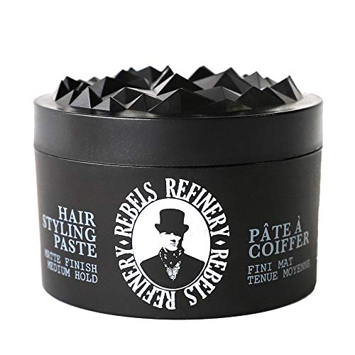 Rebels Refinery Hair Styling Paste for Men - Medium, Flexible Hold and Matte Finish - Adds Texture and Thickness to Thinning Hair - Paraben-Free, Water-Based Formula - 3.5 Oz. (Rebel Matte)