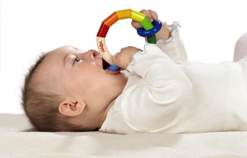 HABA Kringelring Wooden Baby Rattle & Clutching Toy (Made in Germany)