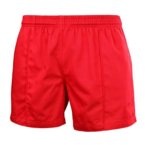 (FitsT4 Men & Women Pro Rugby Sports Team Training Wear Elastic Waist Shorts with Pockets red M)