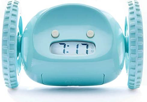Clocky Alarm Clock on Wheels Original Extra Loud for Heavy Sleeper Adult or Kid Bed-Room Robot Clockie Funny, Rolling, Run-Away, Moving, Jumping Blue Wheels