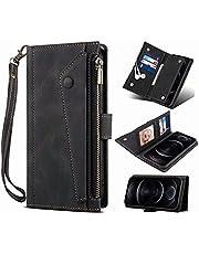 Samsung Galaxy A72 5G Wallet Case, voor Samsung Galaxy A72 5G Crossbody Case, Flip Folio Lederen Cover Rits Portemonnee met Kaarthouder Kickstand Geld Pocket & Polsband Boek Fold Case zwart