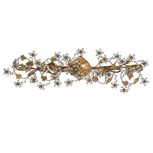 Crystorama 5307-GL Leaf, Flower, Fruit Five Light Bathroom-Vanity Light from Paris Market collection in Gold, Champ, Gld Leaffinish, 6.00 inches (Vanity Double Paris)