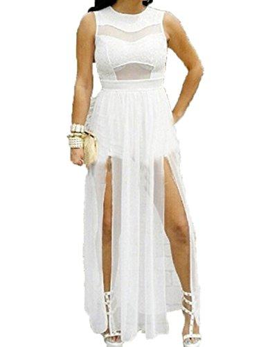Plus Size Double Slits Lace Mesh Jumpsuit Maxi Dress White (2X)