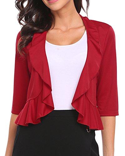 Unibelle Women's Half Sleeve Ruffle Design Cropped Bolero Shrug Open Front Cardigan