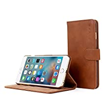 iPhone 6 Plus and 6S Plus Case, Snugg Distressed Brown Leather Flip Case [Card Slots] Executive Apple iPhone 6 Plus and 6S Plus Wallet Case Cover and Stand [Lifetime Guarantee] - Legacy Series