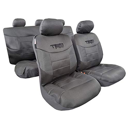 ITAILORMAKER Black Carbon Seat Covers 9PCS Full Set-Universal Fit Airbag Compatible-Low Back Bucket Front Split Rear Bench-Racing Sports Embroidery-Cool Mesh Shiny Metallic Jacquard (Carbon Grey)