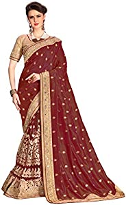 Nivah Fashion Women's Dupion Silk & Net Embroidery Saree with Blouse Piec