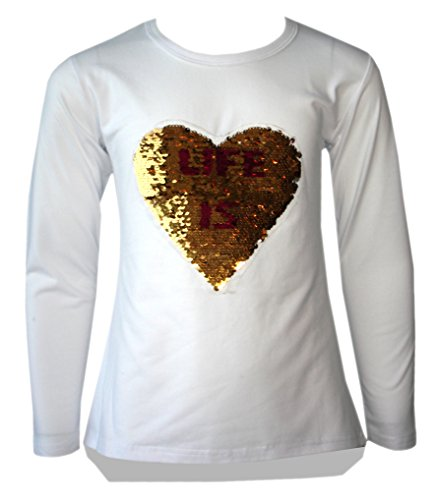 KIDS GIRLS CHANGING SEQUIN SIZES HEART BUTTERFLY TOPS BRUSH LOVE CONE POM (Butterfly Sequin Top)