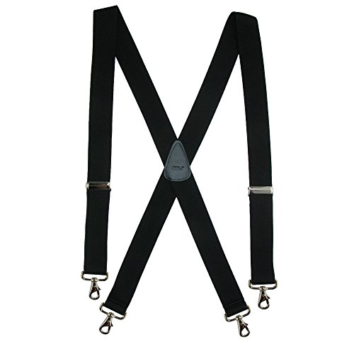 CTM Men's Elastic Solid Color X-Back Suspender with Swivel Hook Ends, Black - Mens Swivel