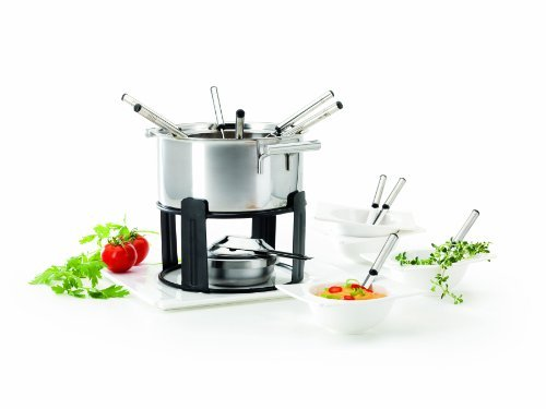 Verso 19-Piece Fondue Set Estelle including 1-Platter/ Rechaud/ Burner/ Fondue Pot and Fork Holder/ 4-Bowls and Fondue Spoons and 6-Fondue Forks