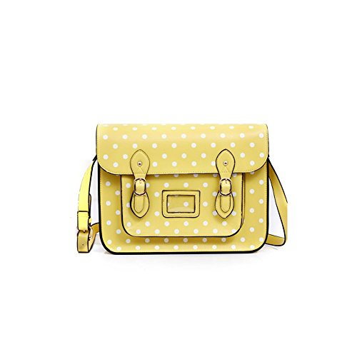 "Large YASMIN BAGS 13.5"" Vintage Polka Dot Spotty Satchel/Cross Body Bag with FREE YASMIN BAGS trolley/locker coin keychain Yellow Y12345D"