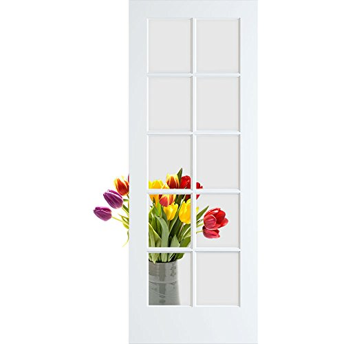 10-Lite Clear Glass French Door, Primed, 18