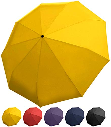 (Rain Guard Windproof Umbrella, Compact Auto Open/Close, DuPont Teflon-coated & Lightweight (Yellow))