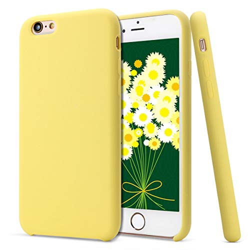 MUNDULEA Compatible iPhone 6/iPhone 6s Case,Liquid Silicone Rubber Soft Microfiber Protective Cover Compatible iPhone 6/ 6s (Yellow)
