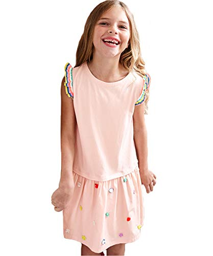 Cute Baby Girl Ptetty Cord Smocked Angel Sleeve Dress Night Gown Sleep Wear Sundress Pink -