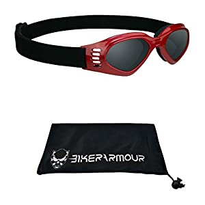 Kids Goggles with Red Frame for motorcycle riding, Motor cross, extreme sports and winter sports. Free Large Microfiber Cleaning Case Included.