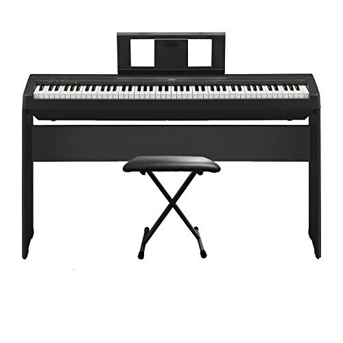 Yamaha P45 88 Key most affordable Compact Portable Graded Hammer action weighted keys and Built in Speaker System digital piano Keyboard with Piano bench and Piano Stand by Yamaha