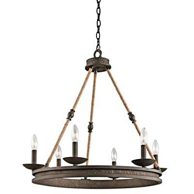 "Kichler 43423 Kearn 1 Tier Chandelier with 6-Lights - 72"" Chain Included - 25 In,"