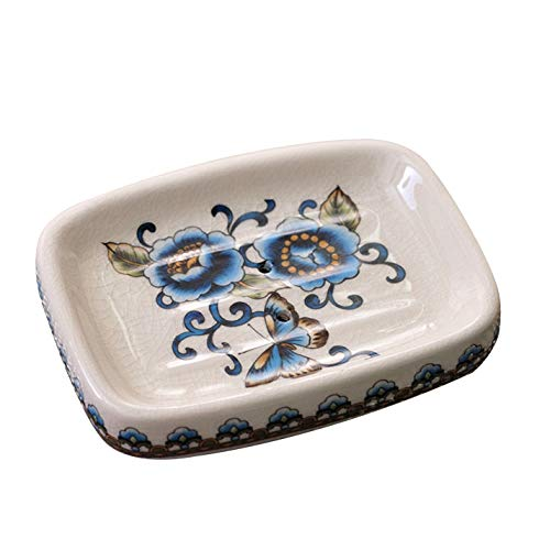 Creative Ceramic Soap Dish Holder for Bathroom and Shower Soap Tray Box with Drain,Soap Container,Gift for Mum Family (Style B)