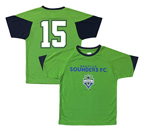 Outerstuff Seattle Sounders #15 Green Youth Word Mark Primary Logo Player Jersey (X-Large 14/16)