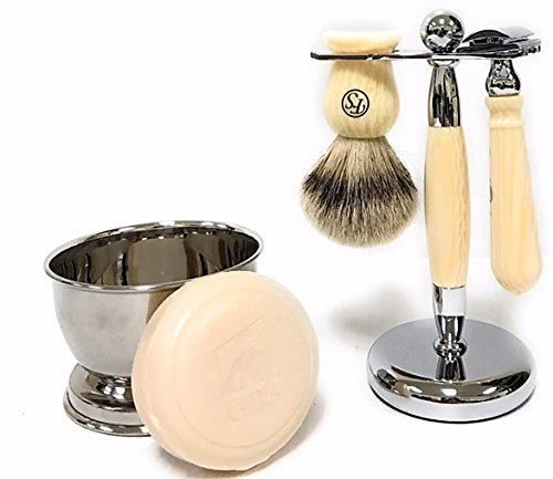 Men's Grooming Set with FS 100% Silvertip Badger Ivory Brush, Ivory Brush and Razor Stand, Safety Razor, 97% All Natural GBS Shave Soap with Chrome Bowl from G.B.S