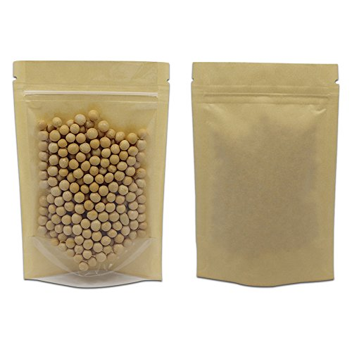 - 50 Pcs Clear Fornt Brown Kraft Paper Zip Lock Plastic Package Bag Doypack Stand Up Pouch 3.9x5.9 inch Zipper Top Reclosable Pouch Nuts Coffee Tea Food Storage Packaging Pack