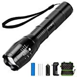 Tactical Flashlight Kit, ANNAN 1000-Lumens Super Bright LED Rechargeable Flashlight with Zoomable 5-Modes, Portable Waterproof Torch, Aluminum Frame, Included Rechargeable Lithiumion Battery,Charger.