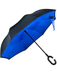Umbrella,Glamore Inverted Double Layer Windproof UV Protection Reverse Folding Umbrellas Inside Out Travel Umbrella