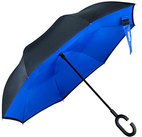 Umbrella, Reverse Umbrella, Glamore Creative Double Layer Hands Free Inverted Umbrella Straight Waterproof Inside Out Travel Umbrella (Blue&Black)