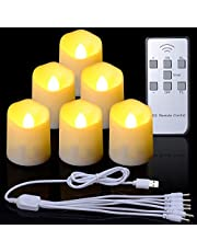 Rechargeable Tea Lights with Timer Remote, PChero 6 Packs Flickering Flameless LED Tealights Candles for Table Centerpieces Bedroom Home Decor Thanksgiving Halloween Decorations