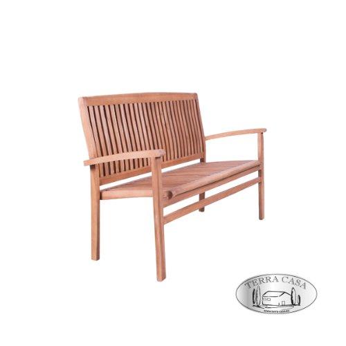 Gartenmöbel Gartenbank MEDAN Sitzbank 2-Sitzer 120 cm Bank Teakholz Teak Premiumqualität