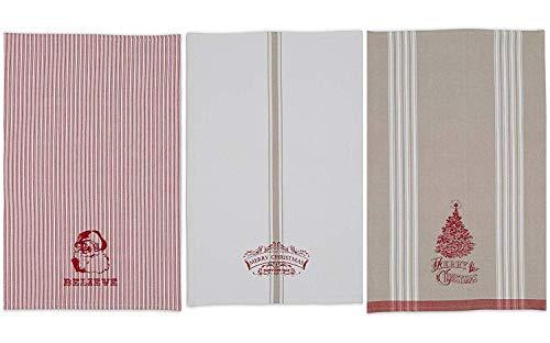 DII Dishtowel Set, Set of 3, Vintage Christmas Print, 3 Piece