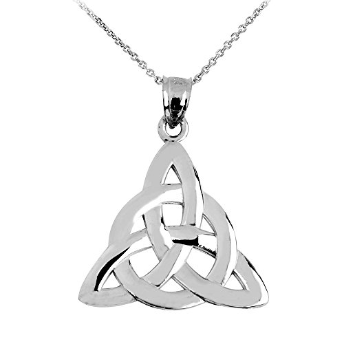 14k White Gold Traditional Celtic Trinity Knot Pendant Necklace, 18