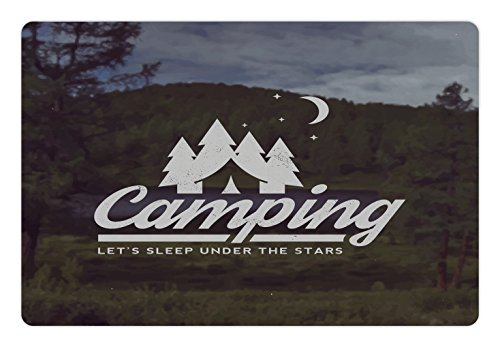 Camper Pet Mats for Food and Water by Lunarable, Campin Logo Emblem over Tree Forest Background Journey to Wilderness Design, Rectangle Non-Slip Rubber Mat for Dogs and Cats, White Army - Emblem Tree
