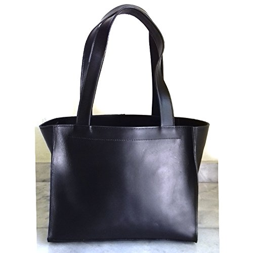 BLACK LEATHER TOTE Bag from Real Full Grain Leather 100% Handmade
