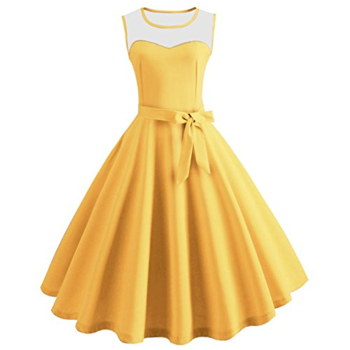 Women Dress Hot Sale Daoroka Vintage Retro Sexy Summer Sleeveless Evening Party Casual A Line Swing Pleated Bodycon Sundress With Sashes Skirt (L, Yellow) for $<!--$5.58-->