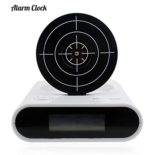 (ZKKAW Creative Alarm Clock, Target Alarm Clock with Gun 12hr Time Display Infrared Target and Realistic Sound Effects LED Digital)