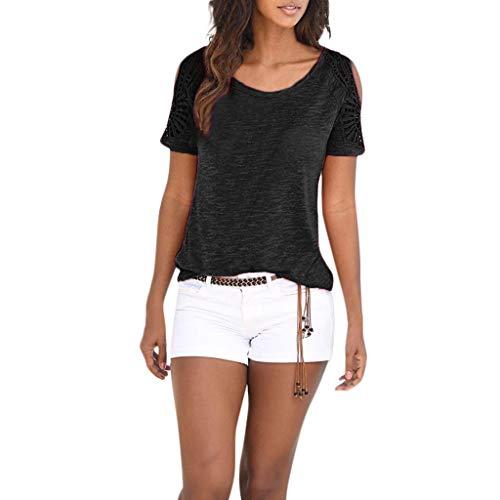 Toimothcn Womens Bohemian Short Sleeve O Neck Lace Patchwork Tunic Tops Shirt Blouse(Black,L)