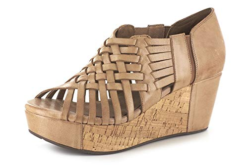 Chocolat Blu Web Wedge - Woven Platform Sandal - Women's Leather Shoes Moka Leather 8 ()