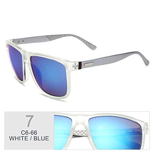 marrón Blue White Moda de sol Mujer Sunglasses enormes TL bastidor gafas Gafas de UV400 marrón sol Unas cuadrado xq6nHfTwnF