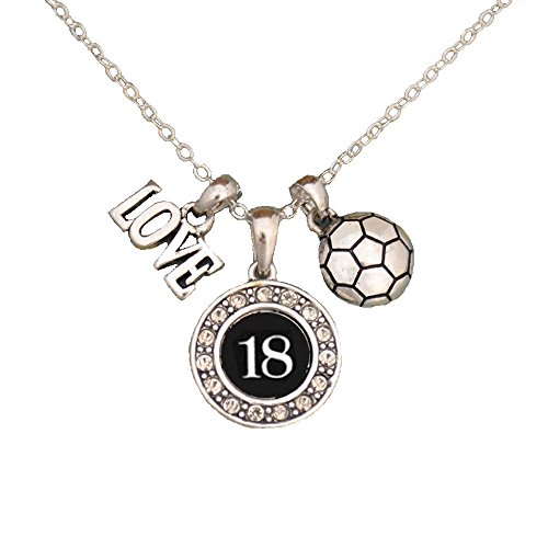 MadSportsStuff Custom Player ID Soccer Necklace (#18, One Size) -
