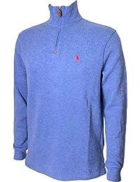 Mens Half Zip French Rib Cotton Sweater (Medium, Blue...