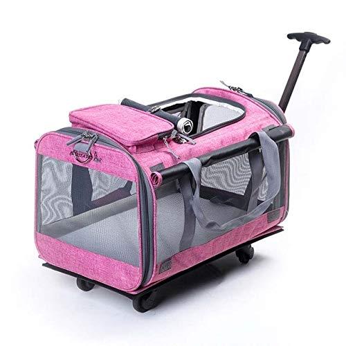 SPRINGYOU 折りたたみペットローリング荷物スピナー猫と犬スーツケースホイール 20 インチにキャリートロリーペット旅行バッグホイール 20\ ピンク B07QSD5TSK