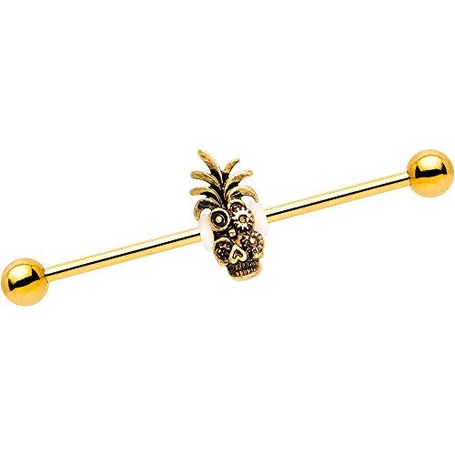 (Body Candy PVD Steel Steampunk Tiki Skull Headdress Helix Earring Industrial Barbell Piercing 14 Gauge 38mm)