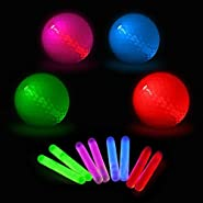 GlowKnights Glow Golf Balls - 4 Per Pack, 8 Glow Stick Inserts. Perfect for Night Golf and to Practice Long Range and Distance Shots