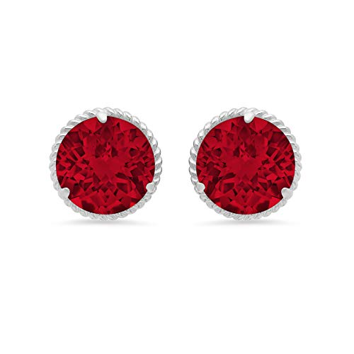 14k White Gold Roped Halo Round-Cut Created Ruby Stud Earrings (8mm)