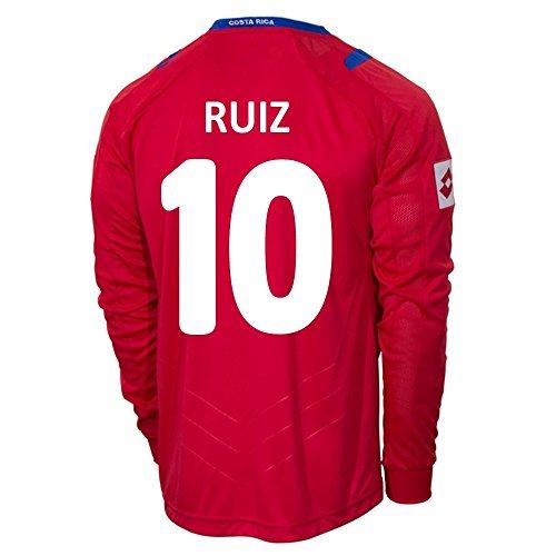 レオナルドダ予備砂のLotto RUIZ #10 Costa Rica Home Jersey World Cup 2014 (Long Sleeve)/サッカーユニフォーム コスタリカ ホーム用 長袖 ワールドカップ2014 背番号10 ルイス