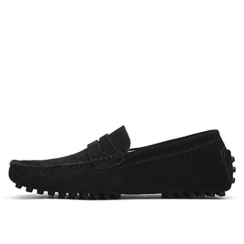 Men's Driving Penny Loafers Suede Genuine Leather Casual Moccasins Slip-On Boat Shoes Cricket Shoes Black ZzOEuvCEM2