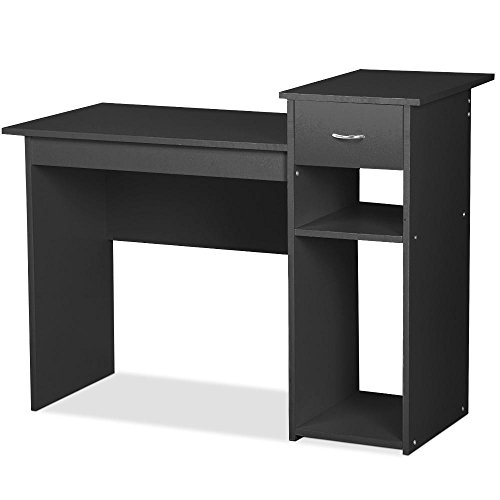 Go2buy small spaces home office black computer desk with for Home computer desks for small spaces